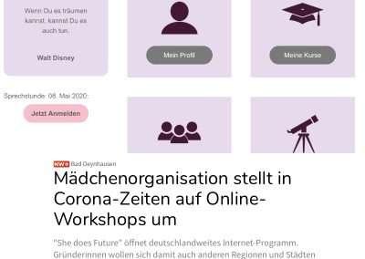 Artikel über unsere neuen Online - Kurse